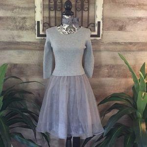 Esley (Urban Of) Flared Silver Chiffon Dress